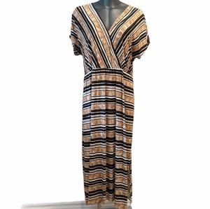 Love & Legend striped faux wrap maxi dress 3X